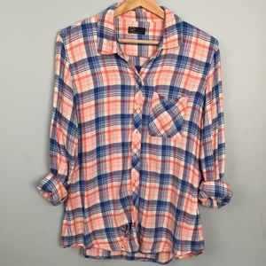 GAP Flannel Button Up Coral Blue White Size M